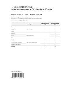 1. Ergänzungslieferung D-A-CH-Referenzwerte für die Nährstoffzufuhr