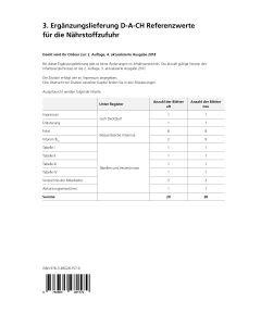 3. Ergänzungslieferung D-A-CH-Referenzwerte für die Nährstoffzufuhr