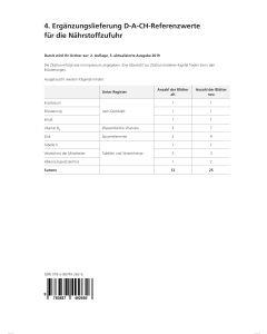 4. Ergänzungslieferung D-A-CH-Referenzwerte für die Nährstoffzufuhr