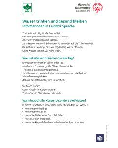 Wasser trinken und gesund bleiben - Infoblatt in Leichter Sprache