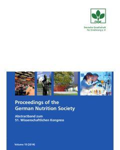 Proceedings of the German Nutrition Society – Volume 19 (2014) – Abstractband zum 51. Wissenschaftlichen Kongress