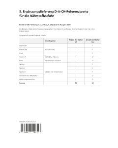 5. Ergänzungslieferung D-A-CH-Referenzwerte für die Nährstoffzufuhr